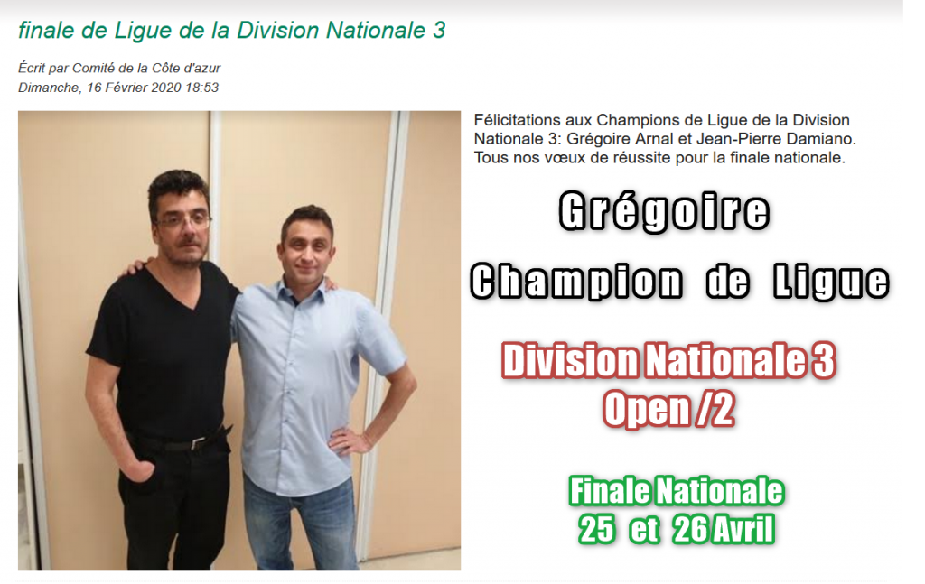 Champion de Ligue en Division Nationale 3 par paires.